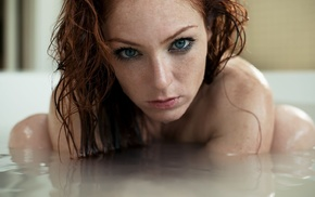 portrait, girl, redhead, bathtub, wet body, face
