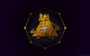 violet, gold, abstract, triangle