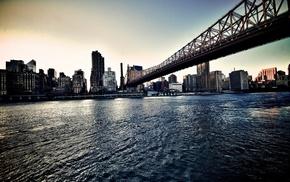 Queensboro Bridge, building, New York City, water, sea, cityscape