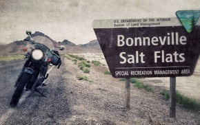 road, signs, USA, motorcycle, landscape, Utah