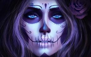 artwork, girl, face, Sugar Skull