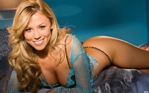 Playboy, Ciara Price, lingerie, girl, smiling, blonde