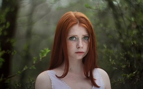 redhead, forest, freckles, face, girl, model