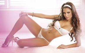 white lingerie, sensual gaze, brunette, girl, high heels, looking at viewer