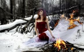pierced lip, looking away, fire, trees, snow, winter