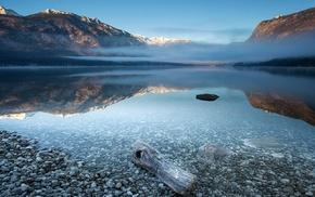 mist, water, landscape, mountain, reflection, snowy peak