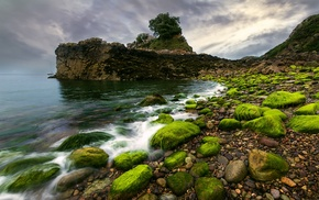 sea, pebbles, landscape, moss, clouds, rock