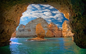 Portugal, erosion, clouds, island, cave, nature