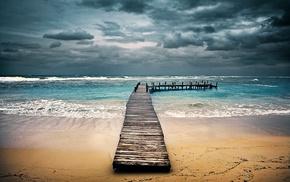 Honduras, clouds, sand, sea, landscape, beach