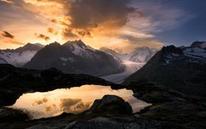 Switzerland, glaciers, sunrise, clouds, landscape, sky