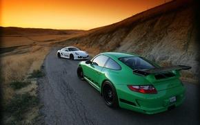 road, landscape, Porsche 911 GT3 RS, green, sunset, Porsche