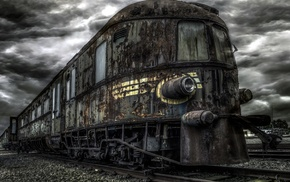 abandoned, train, vehicle, HDR, overcast, ruin