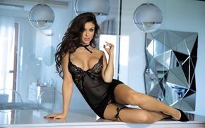 black lingerie, high heels, model, Monika Pietrasinska, black heels, girl