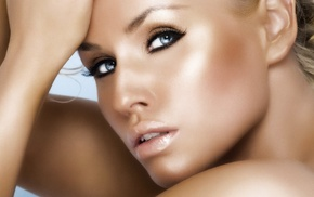 sensual gaze, blonde, closeup, blue eyes, bare shoulders, girl