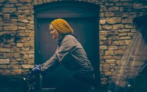 blonde, bicycle, woolly hat, girl