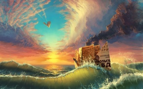 paper planes, sea, clouds, paper, colorful, waves