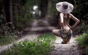 grass, model, hands on hips, bare shoulders, girl, path