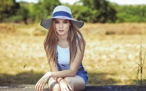 overalls, sitting, girl, hat