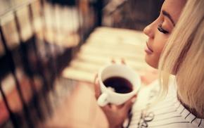 cup, tea, face, Ivan Gorokhov, blonde, depth of field