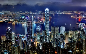 city, skyscraper, lights, night, Hong Kong, building
