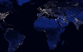 continents, lights, multiple display, night, Earth, space