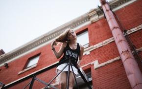 miniskirt, depth of field, tank top, bricks, building, model