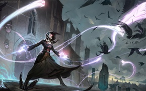 Magic The Gathering, fantasy art, crow, wizard, raven