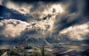 village, storm, Alps, landscape, nature, clouds