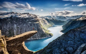 morning, water, cliff, nature, fjord, snow
