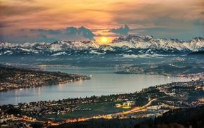 lights, landscape, clouds, cityscape, snowy peak, sunrise
