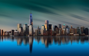 building, New York City, island, calm, skyline, water