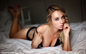 girl, model, black bras, feet, cleavage, tattoo
