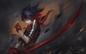 Kill la Kill, anime girls, Matoi Ryuuko, sword