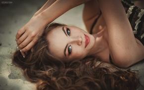 lingerie, smiling, model, sand, lying down, auburn hair