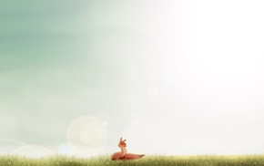 sunlight, happy, fox, minimalism, smiling