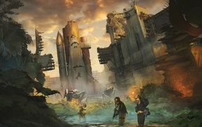 abandoned, apocalyptic, space shuttle, concept art, artwork