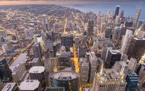street light, cityscape, USA, city, sunset, building