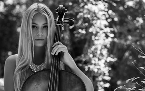 contrabass, long hair, model, fingers, girl, playing