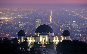 observatory, trees, house, Los Angeles, street, building