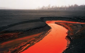 volcano, river, rust