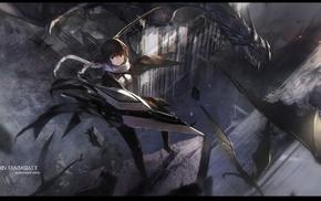 Pixiv Fantasia T, dragon, weapon, swd3e2, anime girls, black hair