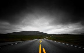 nature, black, mountain, asphalt, dark, lines