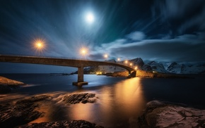 water, lights, fjord, snow, sea, island