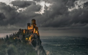 castle, clouds, sky, valley, lights, landscape
