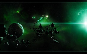 asteroid, planet, spaceship, multiple display, space art, space