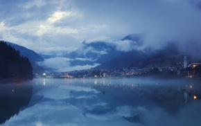 evening, mountain, calm, lights, lake, blue