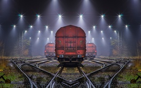 shrubs, machine, technology, mist, railway, night