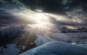 sun rays, landscape, Dolomites mountains, snow, clouds, Italy