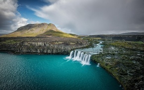 landscape, lake, fall, cliff, Iceland, waterfall