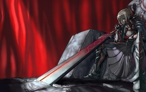 Fate Series, Saber Alter, dark, sword, armor, Saber